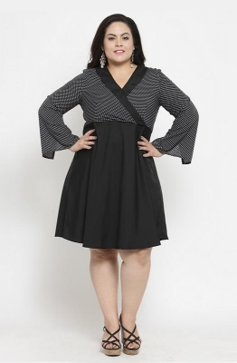Fit & Flare Contrast-Bodice Party Dress