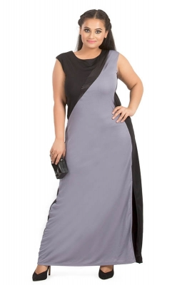 Black & Grey Maxi Party Dress