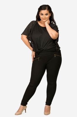 Women's Black Ruffled Top with Printed Sleeves
