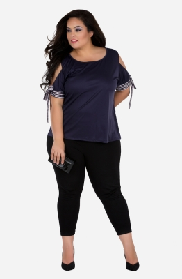 Solid Navy Cold Shoulder Top
