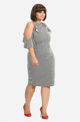 Ruffle Pin Stripe Bodycon Dress