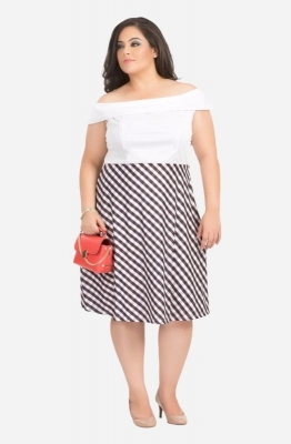 Off Shoulder Chequered Dress