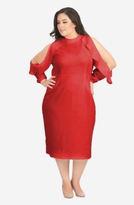 Long Ruffled Cold Shoulder Dress
