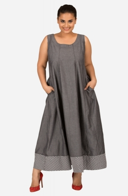 Floor Length Grey Flare Dress