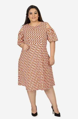 Cold shoulder Geometrical print dress