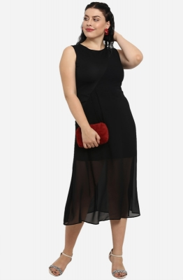Solid Black Fit and Flare Casual Midi Dress