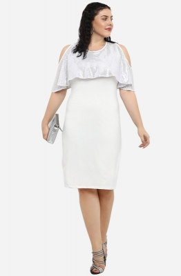 White Straight Fit Party Dress with Cape and Cold Shoulders