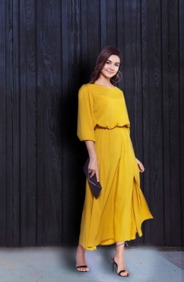 Solid Yellow Maxi Dress