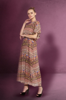 Casual Multi-coloured Tie Waist Maxi Dress with Cape Sleeves