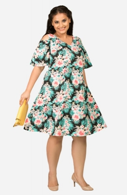 Cold-shoulders A-line Casual Dress with tropical print