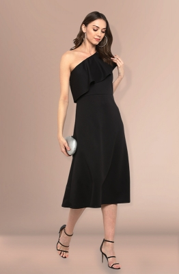 One-shoulder Straight-fit Flounce Party Dress