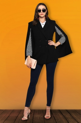 Double-Breasted Black Party Blazer with Slit Sleeves