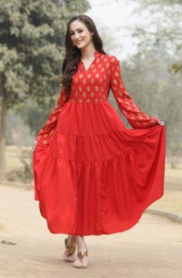 Red Motif Print Dress With Dupaata