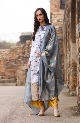 White Self Design Kurta Set