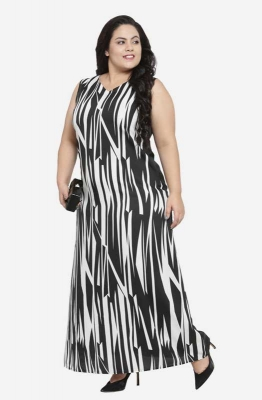 Monochrome Formal Maxi Plus Size Dress with Contrast Back