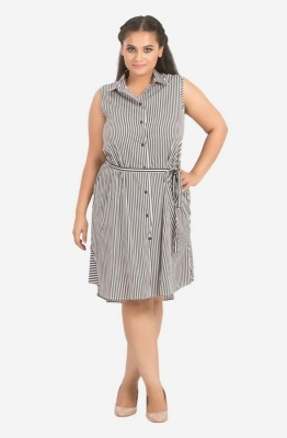 Stripe A-Line Sleeveless Dress
