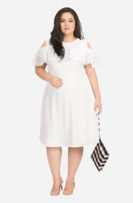 Schiffly Ruffle Cold Shoulder Dress