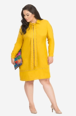 Bright Yellow Formal Full Sleeve Shirt Dress