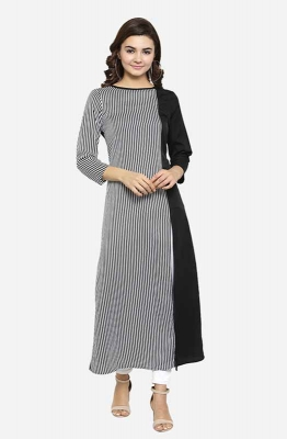 Dual-toned Black and Grey Long Sleeves Boat Neck Striped A-line Casual Kurti