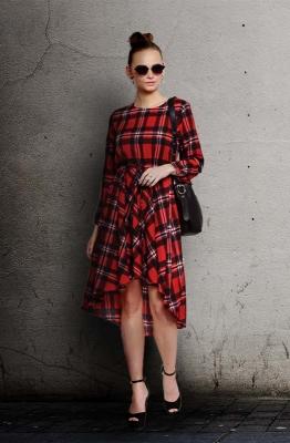 Casual Long Sleeve Checkered Drape Style Dress with Asymmetrical Hemline