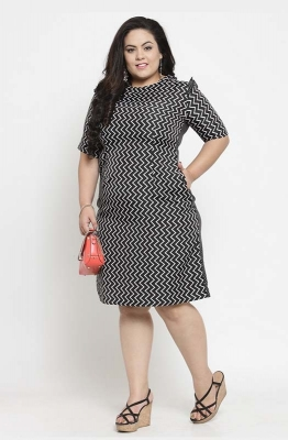 Chevron Print Monochrome Party Dress