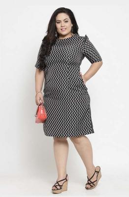 Chevron Print Monochrome Party Dress