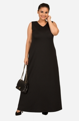 Black Floor Length Dress with V shaped neckline