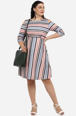 Pastel Stripe Cold Shoulder Dress