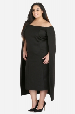 Off The Shoulder Cape Dress