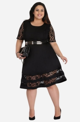 Elbow Sleeve Lace Dress