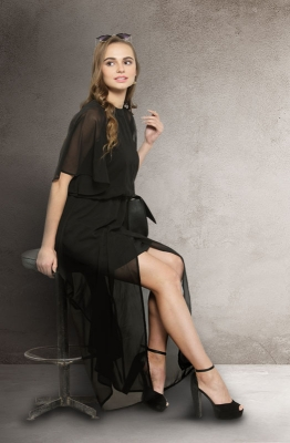 Casual Black Solid Round Neck Flared Sheer Maxi Cape with a Short Halter Top Underneath