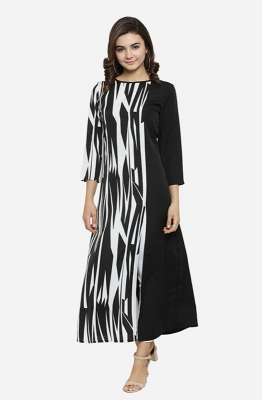 Dual-toned Black and White Long Sleeves Boat Neck Striped A-line Casual Kurti