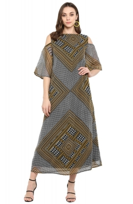 Formal Cold-Shoulder Checked Maxi Dress with Geometric Print