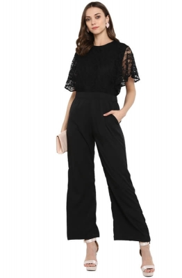 Chic Black Party Jumpsuit with Lace Bell Sleeves