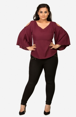 Burgundy Cold-Shoulder Casual Top