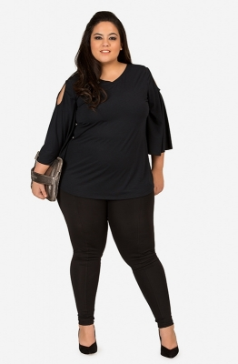 Solid Black Cold-Shoulder Casual Top