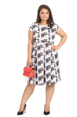 Casual Fit & Flare Abstract Floral Dress