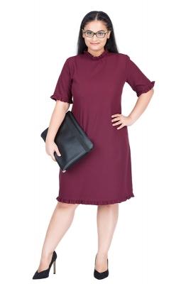Straight-fit Ruffle Collar Formal Dress