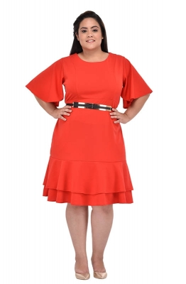 Orange A-line Casual Dress