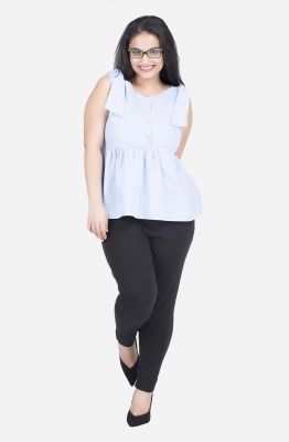 Front button Pin stripe Peplum Top