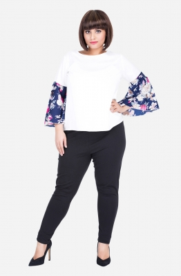 Contrast Bell Sleeves Top