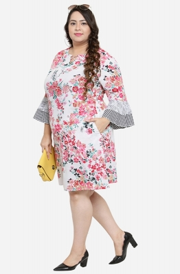 Gingham Bell sleeves A Line Dress