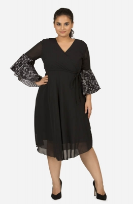 Black Solid Georgette Fit and Flare Gingham Ruffle Sleeves Dress