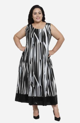 Sleeveless Monochrome Casual Maxi  Dress with Contrast hemline