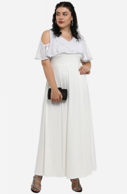 White Cold-Shoulder Flared Party Maxi Dress