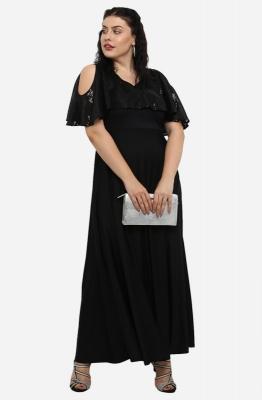 Solid Black Cold-Shoulder Party Maxi Dress
