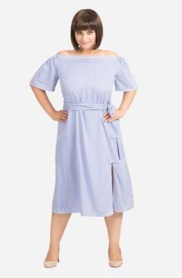 Off Shoulder Pin Stripe Dress