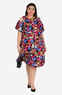Bright Floral Cold Shoulder Dress
