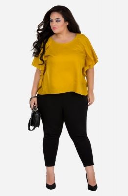 Women's Mustard Ruffled Top