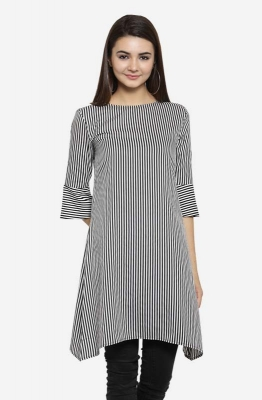 Black and White Striped Boat Neck Straight Party Tunic